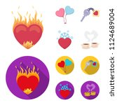 hot heart  balloons  a key with ... | Shutterstock .eps vector #1124689004