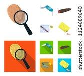 a fingerprint study  a folding... | Shutterstock .eps vector #1124689640