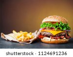ready to eat cheese burger with ... | Shutterstock . vector #1124691236