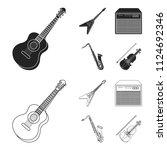 electric guitar  loudspeaker ... | Shutterstock .eps vector #1124692346