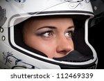 Woman In Biker Helmet ...