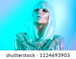 high fashion model girl in... | Shutterstock . vector #1124693903