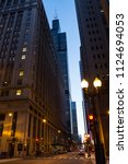 chicago loop downtown city... | Shutterstock . vector #1124694053