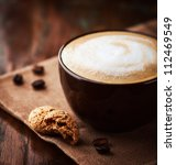 cup of latte coffee with... | Shutterstock . vector #112469549
