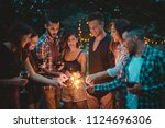 group of friends spending time... | Shutterstock . vector #1124696306