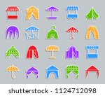 tent silhouette sticker icons... | Shutterstock .eps vector #1124712098