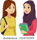illustration of teenage girls... | Shutterstock .eps vector #1124715593