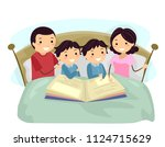 illustration of stickman family ... | Shutterstock .eps vector #1124715629