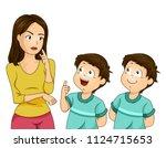 illustration of twin boys kids... | Shutterstock .eps vector #1124715653
