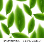 green tea leaves seamless and... | Shutterstock .eps vector #1124728310