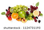 top view of different fruits ... | Shutterstock . vector #1124731193