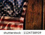 usa flag on a wood surface | Shutterstock . vector #1124738939