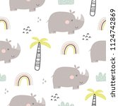 cartoon cute rhino. seamless... | Shutterstock .eps vector #1124742869