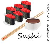 illustration of roll sushi with ... | Shutterstock . vector #1124776409