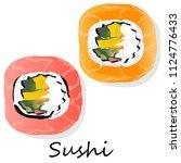 nigiri sushi illustration on a... | Shutterstock . vector #1124776433