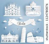 paper cut of world famous... | Shutterstock .eps vector #1124780876