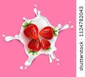 strawberry fruit and splashes... | Shutterstock .eps vector #1124782043