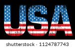 usa flag in text. grunge usa... | Shutterstock .eps vector #1124787743