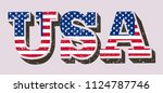 usa flag in text. grunge usa... | Shutterstock .eps vector #1124787746