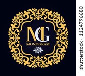 vector golden monogram.... | Shutterstock .eps vector #1124796680