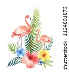 watercolor card of tropical... | Shutterstock . vector #1124801873
