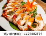 grilled shrimp with shrimp... | Shutterstock . vector #1124802599