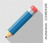 pencil icon in flat style with... | Shutterstock .eps vector #1124824100