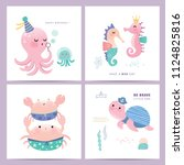 set of cute little marine life... | Shutterstock .eps vector #1124825816