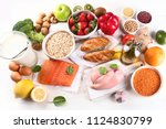 balanced diet. cooking and... | Shutterstock . vector #1124830799