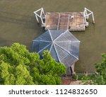 pier top view chao phraya river. | Shutterstock . vector #1124832650