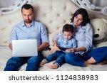 happy family beautiful mother... | Shutterstock . vector #1124838983