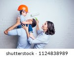 happy family handsome man and... | Shutterstock . vector #1124838989