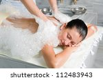 young woman in hammam or... | Shutterstock . vector #112483943