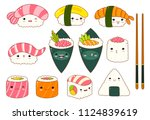 set of cute sushi and rolls... | Shutterstock .eps vector #1124839619