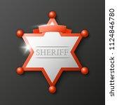 wild west sheriff metal gold... | Shutterstock .eps vector #1124846780