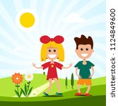 kids on meadow. vector... | Shutterstock .eps vector #1124849600