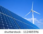 solar panels and wind turbine... | Shutterstock . vector #112485596