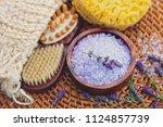 lavender bath salt with fresh... | Shutterstock . vector #1124857739