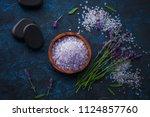 lavender bath salt with fresh... | Shutterstock . vector #1124857760