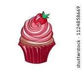 icon of strawberry cupcake on... | Shutterstock .eps vector #1124858669