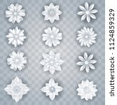 set of paper art white flowers... | Shutterstock .eps vector #1124859329