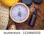 lavender bath salt with fresh... | Shutterstock . vector #1124860520