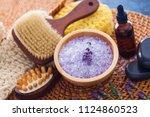 lavender bath salt with fresh... | Shutterstock . vector #1124860523