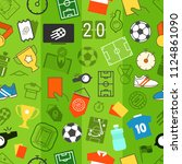 different soccer objects... | Shutterstock .eps vector #1124861090