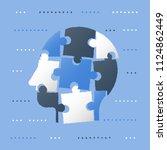 puzzle head  neurology concept  ... | Shutterstock .eps vector #1124862449