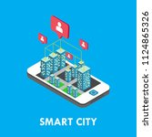 smart city isometric vector... | Shutterstock .eps vector #1124865326