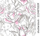 seamless pattern with rose ... | Shutterstock .eps vector #1124870339