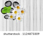 black spa stones  mint herb and ...   Shutterstock . vector #1124873309