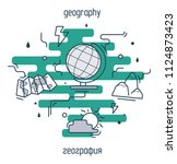 geography linear illustration... | Shutterstock .eps vector #1124873423