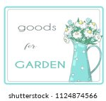 banner with flowers in jug.... | Shutterstock .eps vector #1124874566